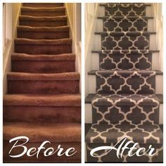Before and After. DIY Stairway Redesign. So easy. Step 1. Remove old carpet. (This is the hardest part, try not to get poked from the old tacks. Be careful!) Step 2. Paint steps. (You can do 1 color for easy, half the time painting, or alternate 2 colors on the rise and run. I alternated white and an espresso brown paint that matches my redone furniture. Regular interior paint will do as it's just the edges that aren't walked on.) Step 3. Staple on runners. (Shown is 3 runners from Target.)
