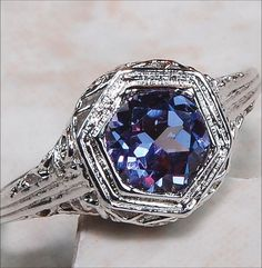 'rColor Changing Lab Created Alexandrite Victorian Ring ' is going up for auction at  2pm Sat, Jun 1 with a starting bid of $20.