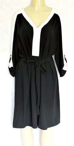 NWT Lane Bryant Dress Black White Colorblock V neck Belt 18 20 3/4 Sleeve #LaneBryant #Any