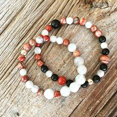 """The Alchemy pair. With moonstone to connect to your inner goddess, and red jasper to ignite your kundalini, these bracelet are intended to help you transform """"lead into gold"""" from within. #om #namaste #highvibes #alchemy #alchemist #moonstone #crystals #crystalhealing #yogajewelry #yogalove #malabeads #innerpower #innerpeace #selflove #spirit #spirituality #healing #kundalini #meditation #affirmation  inspiration: #tealspiritualcatalyst"""