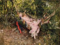 """The Hammock by genre and portrait painter Giovanni Boldini (Italian, 1842 – 1931) Known as the """"Master of Swish"""" because of his flowing style of painting."""