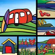 Sarah C Design Sarah C, Nz Art, Kiwiana, Tile Art, Ceramic Art, Painted Rocks, New Zealand, Projects To Try, Kids Rugs