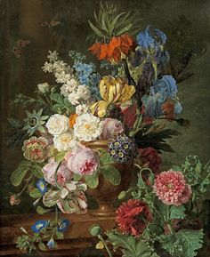 """""""Flowers in an Urn on a Stone Ledge"""" oil on canvas by Jan Frans van Dael"""