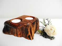 Wooden Candle Holder Centerpiece Candle Holder by DaliasWoodland