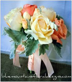 Peach & Ivory Rose Wedding Bouquet ♡ www.bluemountainsfloraldesigns.com.... This is what I want :)