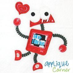 Robot Valentine Applique Design