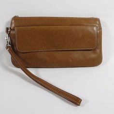 TIGNANELLO Leather Wristlet Wallet Clutch EUC Caramel Brown Buttery Soft RARE #Tignanello #ClutchWallet