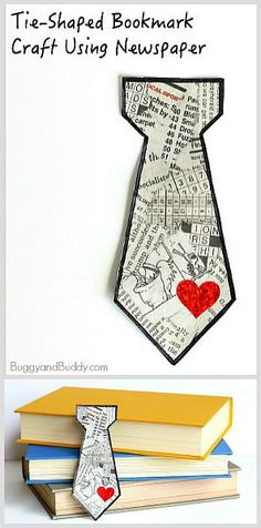 Homemade Father's Day Gift for Kids: Tie Shaped Tear Art Bookmark Craft Using Newspaper! Easy DIY gift for children to make dad! ~ BuggyandBuddy.com #fathersday #fathersdaycard #fathersdaygift #bookmarkcraft #tiecraft