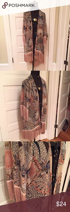 Patterned Fringe Duster (Medium) Fun flowy duster with geometric and floral pattern. Great 70s vibe. Tops Blouses