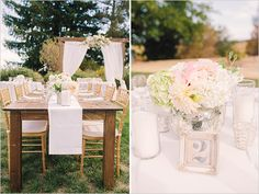 Simple table settings- gold/ silver, white/pastel flowers and mismatched vases