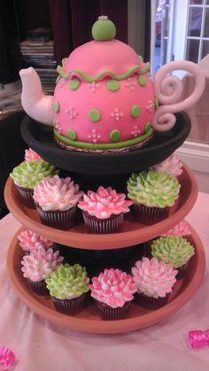 teapot & flower cupcakes