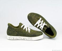 """Купить Валяные кеды """"Зеленый Смузи"""" - кеды, валяная обувь, обувь ручной работы"""