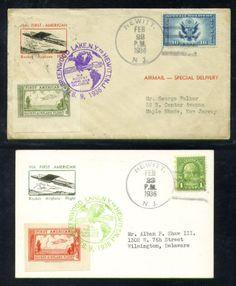 1936 US rocket mail GREENWOOD LAKE cover and postcard EZ 8C1, 8C2
