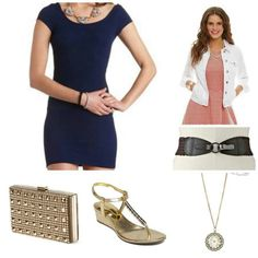Dress: Charlotte Russe, jacket: Dillards,  belt: kohls, clutch:TJ Maxx, wedges: Dillards, necklace:aeropostale Check out my blog: styledbysteph96.wordpress.com