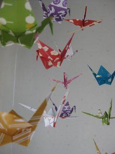 Large Origami Crane Mobile  Tenugui by makikomo on Etsy, $30.00