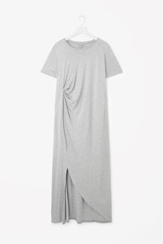 I love the drape of this dress. Black or navy or charcoal grey. This light color would not work for me. Draped jersey dress