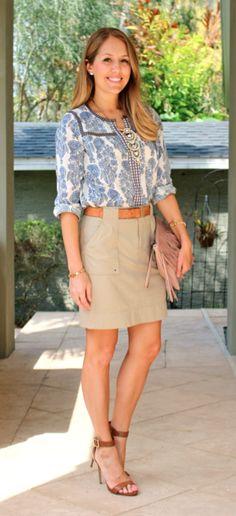 Boho blouse, pocket skirt, fringe bag