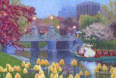 Rainy Day Swan Pond Painting