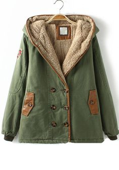 Army Green Patchwork Pockets Cotton Blend Padded Coat