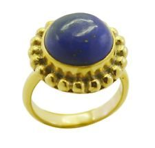 classy Lapis Lazuli Gold Plated Blue Ring supply L-1in US 5678