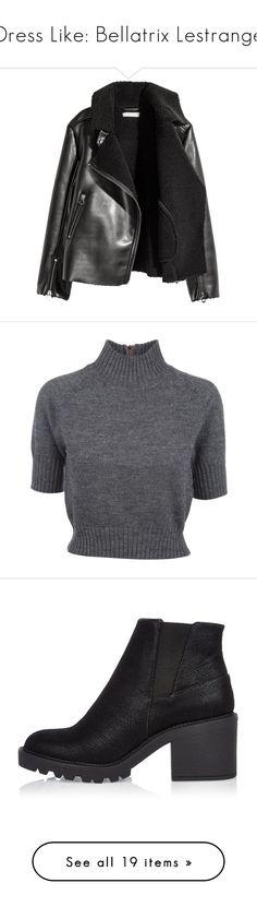 """Dress Like: Bellatrix Lestrange"" by esperanz-e ❤ liked on Polyvore featuring outerwear, jackets, coats & jackets, coats, tops, sweaters, shirts, blusas, t-shirts and grey shirt"