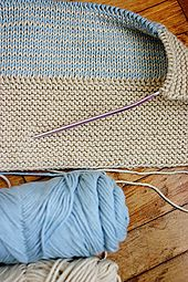 Make this vintage double knit blanket in one color or two, variegated or solid worsted weight yarn with a needle that will give you the correct gauge. Change yarn and needle size and get a different sized blanket.Variation 1