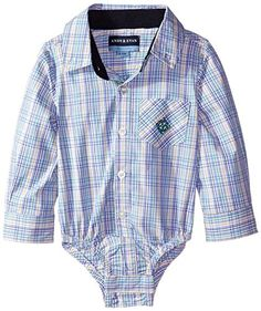 Andy  Evan Baby Boys Green and Blue Double Stripe Check Shirtzie Green 1218 Months * See this great product.