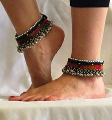 PAIR of Afghani Tribal Cloth Anklets with Bells