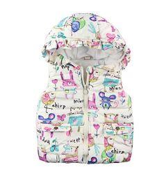 Animal Graffiti Design Hooded Girl Outerwear Vest