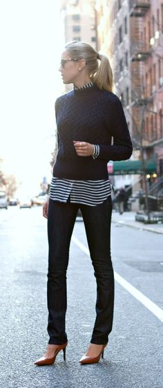 eeb286cb85c The classy cubicle  casual friday in navy - cabled pullover over white and  navy striped shirt high heels ~fashion for work