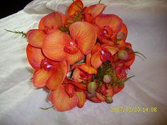 Artificial Faux Flowers Coral Orange Orchids Wedding Bridal Bouquets £30.00