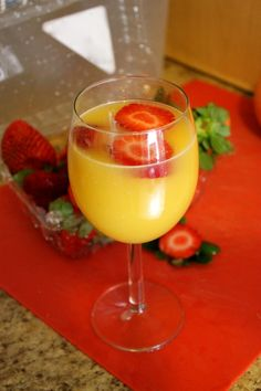 Strawberry-Mango Mimosa    I use equal parts SImply Orange Juice with Mango and champagne, and cut slices of fresh strawberries to float on top. One of my favorites.
