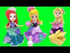 Disney Princess Ariel Rapunzel Aurora Little Kingdom Magical Glimmer Mini-Dolls with Snap-Ins Princess Videos, Disney Princess Aurora, Rapunzel, Cinderella, Disney Characters, Fictional Characters, Aurora Sleeping Beauty, Dolls, Mini