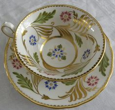 Vintage ROYAL CHELSEA Wide Cup/Saucer HEAVY GOLD w/PINK & BLUE DIANTHUS Art Deco in Pottery & Glass, Pottery & China, China & Dinnerware   eBay