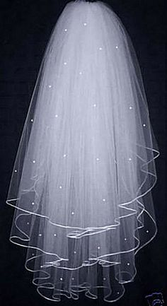 3 Tier Elbow Length White Bridal Beaded Veil with Comb by Addmein, $14.99