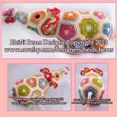 Nellie the Elephant African Flower Crochet pattern by heidibears, $6.50