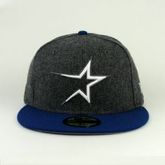 Houston Astros Gray Flannel And Royal Blue Hat With Gray Under V New Era  Fitted fcc1dace629b