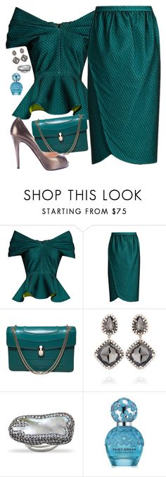 """""""Audrey"""" by chelsofly ❤ liked on Polyvore featuring Emilio De La Morena, Bulgari, Marc Jacobs, Christian Louboutin, vintage, teal and suit"""