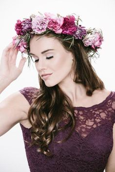 A large, purple and pink flower crown | Floral Headpiece Inspiration for Brides & Bridesmaids | Kennedy Blue