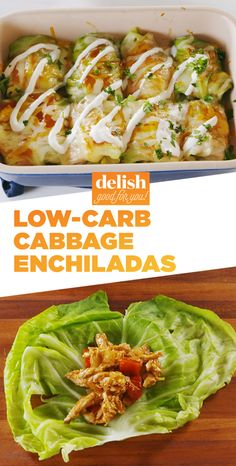 This is the low-carb way to eat your favorite Mexican dish. Get the recipe at Delish.com. #recipe #easyrecipe #easy #lowcarb #lowcarbrecipe #enchilada #chicken #mexican #mexicanfood #cabbage #cheese #sauce