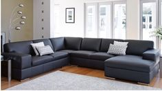 Henri Leather Corner Lounge with Chaise - Lounges - Living Room - Furniture, Outdoor & BBQs Leather Modular Sofa, Leather Sofa Bed, Leather Lounge, Lounge Furniture, Cool Furniture, Living Room Furniture, Living Room Decor, Furniture Ideas, Sofa Ideas