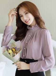 StyleOnme_Pearl Button Frill High Neck Blouse #violet #pearl #feminine #blouse #koreanfashion #kstyle #kfashion #falltrend