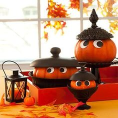 Acorn pumpkins...good idea for left over lids or goodwill items ....spray paint the brown color and you are good to go.