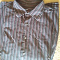 SYNRGYMens 2XL Casual Shirt L/S Button Front Blk/Grey/Red Striped EUC #Synergy #ButtonFront