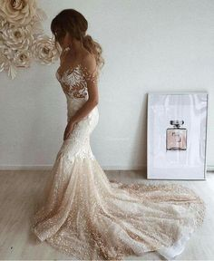 V-back Ivory Lace Champagne Tulle Sleeve Two-piece Bohemian Wedding Dress - Lunss Couture Bohemian Wedding Dresses, Chic Wedding, Bridal Dresses, Wedding Styles, Wedding Gowns, Prom Dresses, Sun Dresses, Wedding Bells, Gold Coast