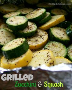 Grilled Zucchini and Squash is a healthy side dish and easy to make and clean up in this foil packet!  A great way to use up your summer squash and zucchini.