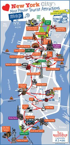 NYC's .. map of favorite destinations