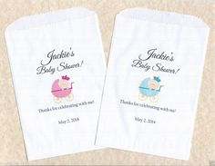 50 Baby Shower Boy Personalized Candy Buffet Party Favor Bags