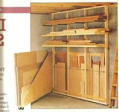 Alternative swing out plywood sheet storage. Woodworking Lumber Near Me Lumber Storage Rack, Plywood Storage, Lumber Rack, Woodworking Workshop, Woodworking Shop, Woodworking Crafts, Woodworking Plans, Woodworking Basics, Workbench Plans