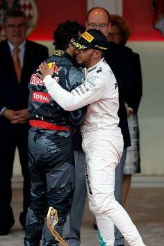 Lewis Hamilton the winner of Monaco GP hugging Daniel Ricciardo who came in at for the 2016 Monaco GP, 29 May 2016 Daniel Ricciardo, F1 Season, Lewis Hamilton, F 1, Formula One, Sports News, Grand Prix, Monaco, Pilot